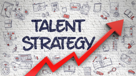 Talent Strategy - Development Concept with Doodle Design Icons Around on the White Brickwall Background. Talent Strategy Drawn on White Brickwall. Illustration with Doodle Icons.